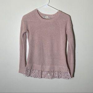 Girls Pink Sparkle Sweater